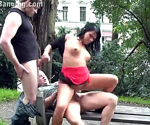 Risky 3some at a public park! OUTSTANDING!