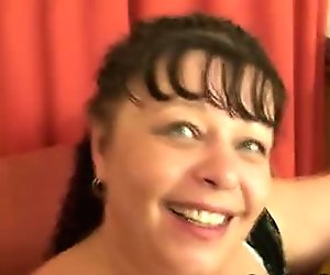 Plump mature bitch takes two cocks
