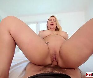 Chubby MILF stepmom strips and fucks big cocked stepson
