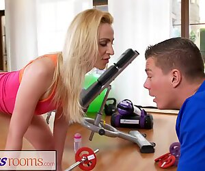 Fitness Rooms Cock hungry blonde Russian mummy deep throats gym teacher
