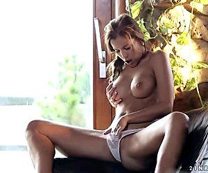 Astonishing brunette babe strokes her soaking vagina with fingers