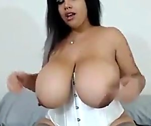 Busty Brunette With Huge Natural Tits Masturbate
