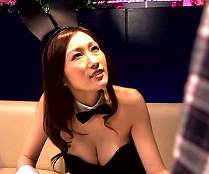Japanese cosplay bunnysuit lady getting titfucked