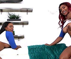Twerking ebony teens sucking and riding cock
