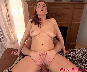 Big tits brunette Jessica Red riding hard dick after blowjob