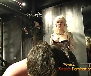 Extremely horny dude enjoys having some dungeon fun with two blondes