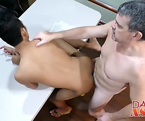 Horny asian twink fucking with his boss
