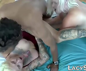 Busty British mature has her pussy destroyed in group sex