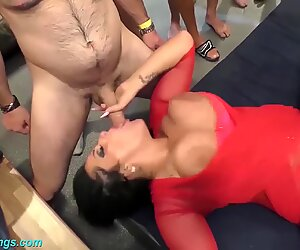 tatted german mummy rough gang banged