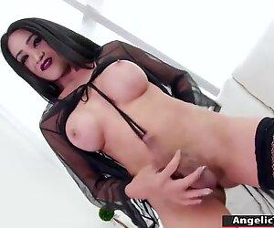 TS Helen solo masturbates and gets cum