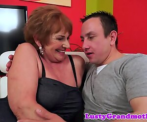 Bigbooty grandma riding on a huge cock