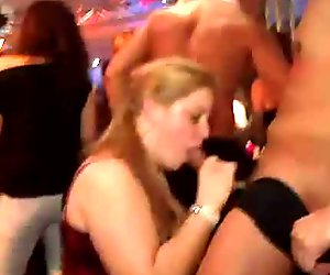 Slutty young hussies gladden strip dancers with rapacious blowjob