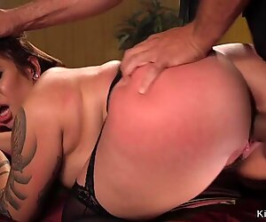 Chubby slave gets big tits cummed by master
