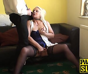 Blonde GILF Carol throated before anal domination and facial