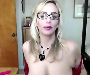 Dirty talk pro blonde with sexy glasses and big DD tits
