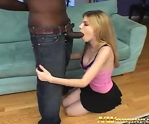 blonde teen sucks and fucks a big black cock