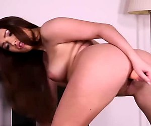 Brunette goddess with natural knockers playing with her sex toy