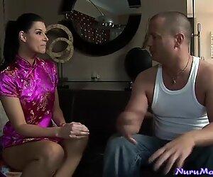 American brunette India Summer looks hot in Japanese dress
