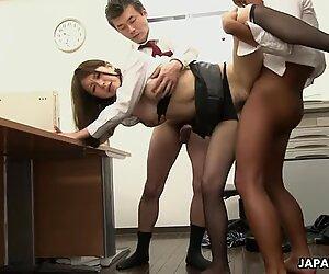 Asian slut gets fucked in the office