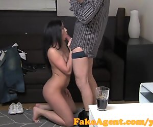 FakeAgent Hot brunette not happy about surprise Creampie in Office
