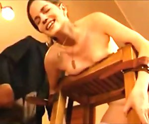 Girl cums and smiles after a severe caning